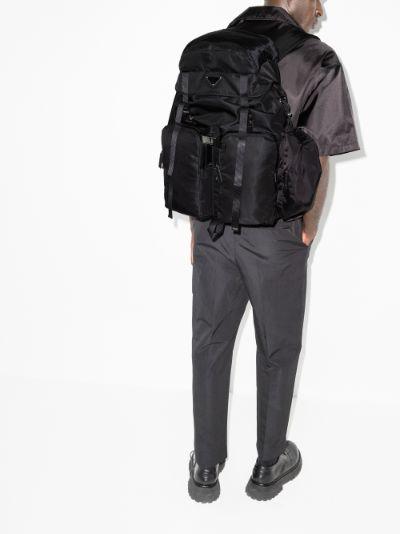Black Re-Nylon Leather Backpack