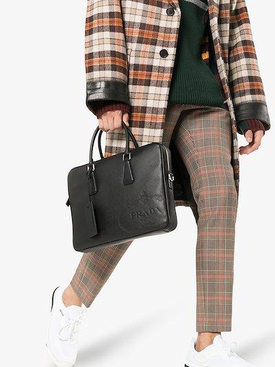 black saffiano leather briefcase