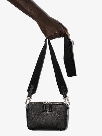 black Saffiano leather cross body bag