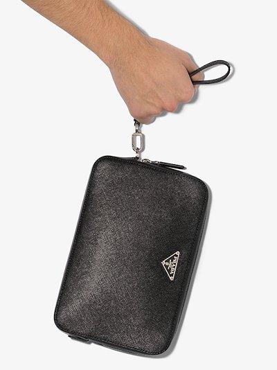 black saffiano leather pouch