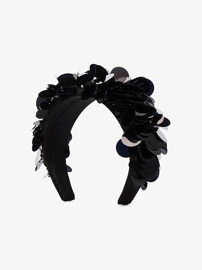 black sequin satin headband