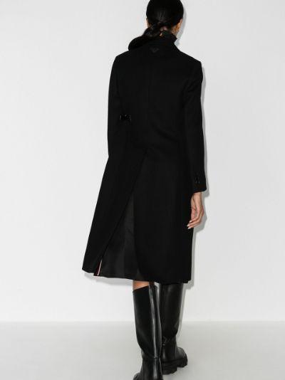buckled belt wool coat