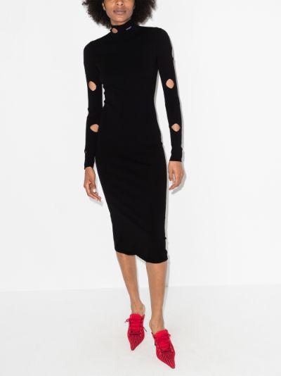 cutout knit midi dress