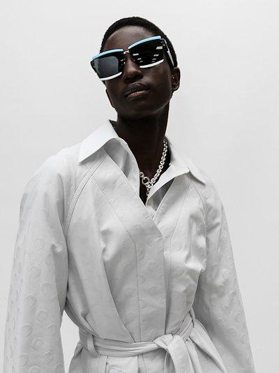 blue and white Duple rectangular sunglasses