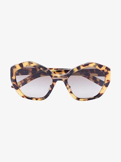 brown hexagon tinted sunglasses
