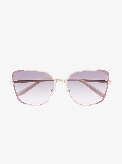 gold tone square cat eye sunglasses