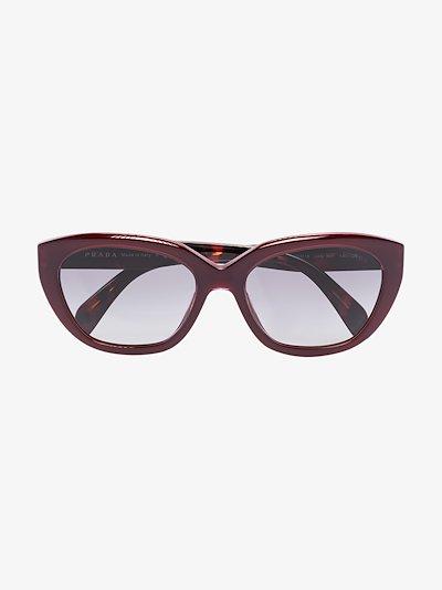 red two tone cat eye sunglasses
