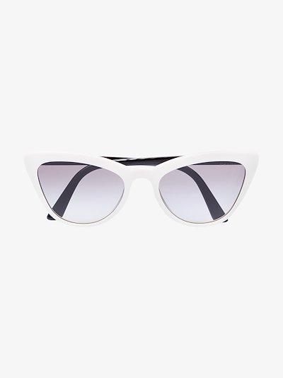 white cat eye tinted sunglasses