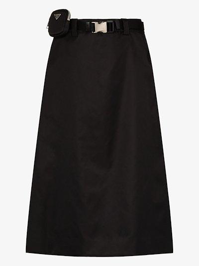 Gabardine belted midi skirt