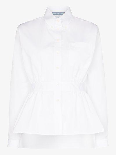 Gathered waist buttoned shirt