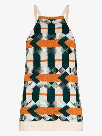 geometric jacquard wool tank top