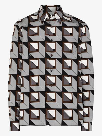 geometric print buttoned shirt