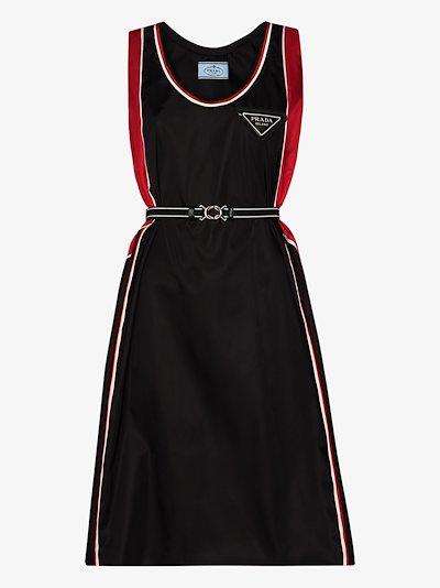 logo plaque belted flared dress