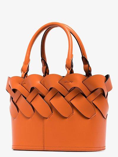 Orange Vitello woven leather tote bag