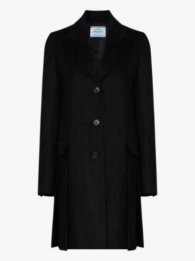 pleated virgin wool coat