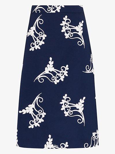 poplin fan print skirt