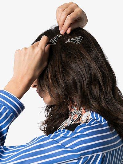 Silver Tone Logo Triangle Hair Slides