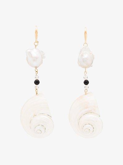 sterling silver pearl shell drop earrings