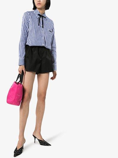 Striped button-down cotton poplin shirt