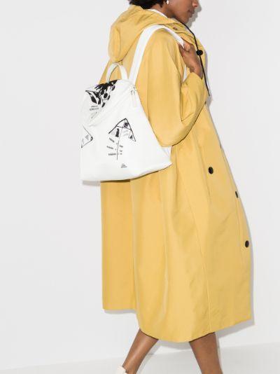 white Signaux printed backpack