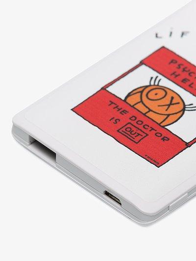 white illustrated USB power bank