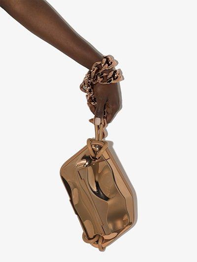 rose gold tone cross body chain strap bag