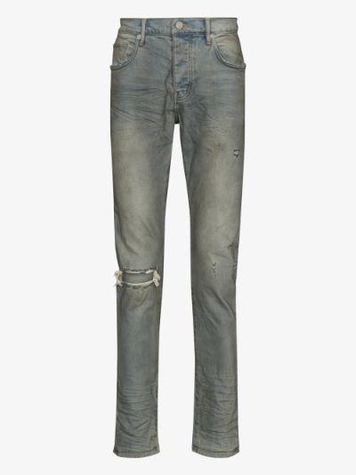 distressed slim leg jeans