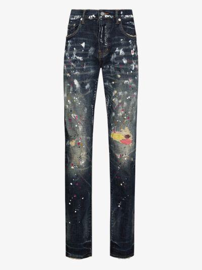 P001 paint splatter slim fit jeans
