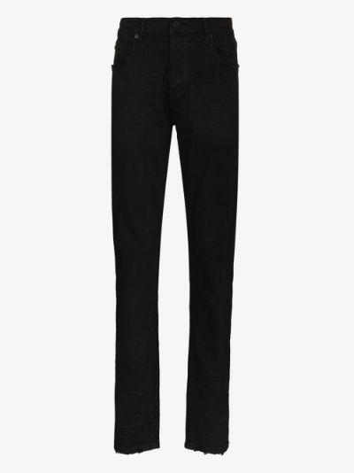 P001 raw hem slim fit jeans