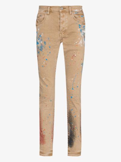 paint splattered slim fit jeans