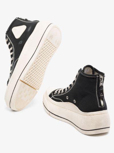 Black flatform high top sneakers