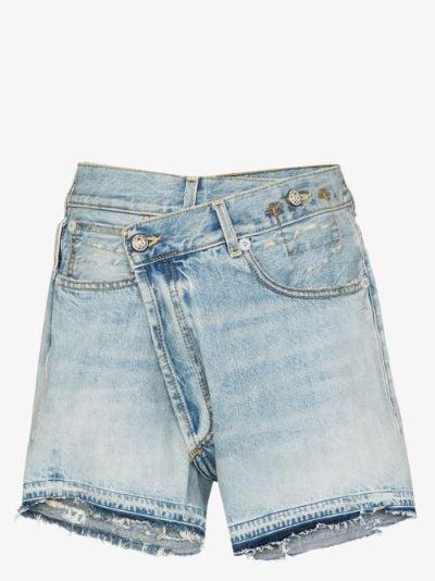 crossover denim shorts