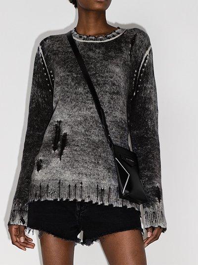 embroidered washed cashmere jumper