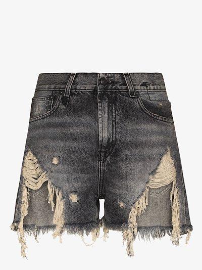 Niles Shredded Slouch Denim Shorts