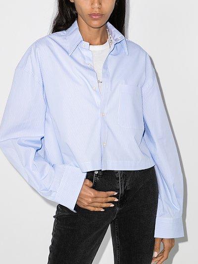 oversized cropped stripe shirt