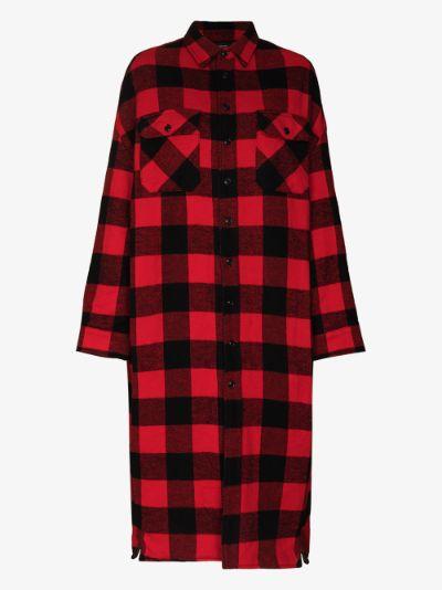 padded checked overshirt coat