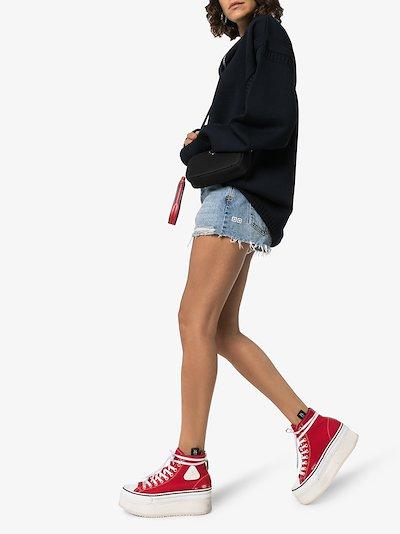 red distressed platform sneakers