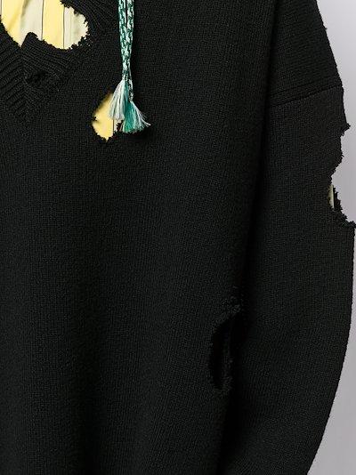 appliqué distressed sweater