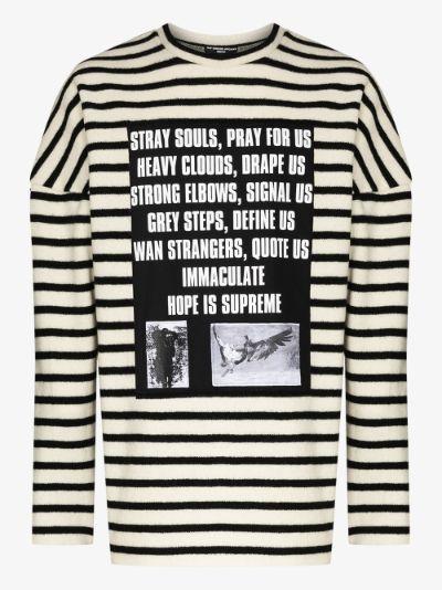 striped appliqué wool sweater