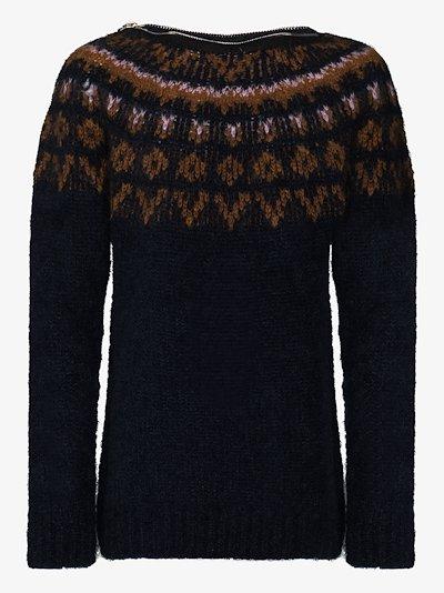 Zip crew neck jacquard sweater