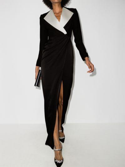 contrast lapel blazer gown