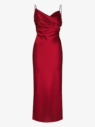 draped sweetheart midi dress