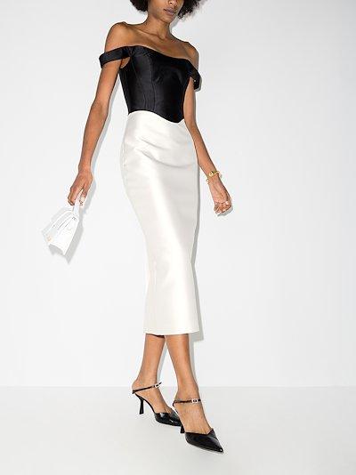 off-the-shoulder satin corset midi dress