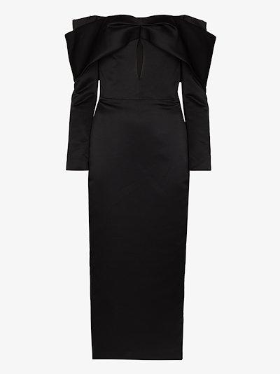 off-the-shoulder satin midi dress