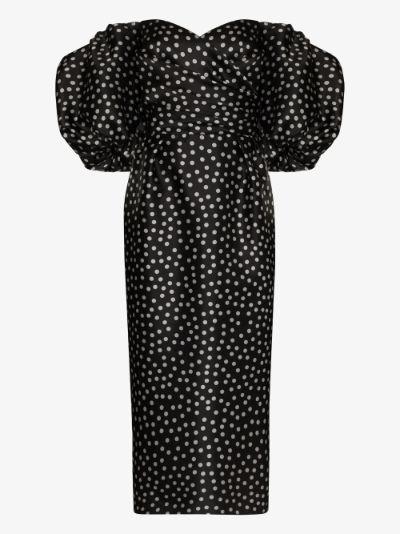 polka dot off-the-shoulder silk midi dress