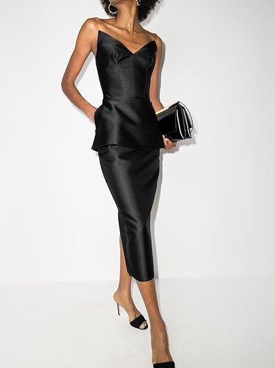 strapless satin corset midi dress