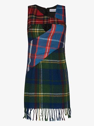 Kira tartan check panelled mini dress