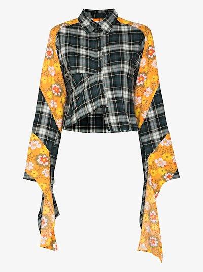 yara floral panel checked shirt