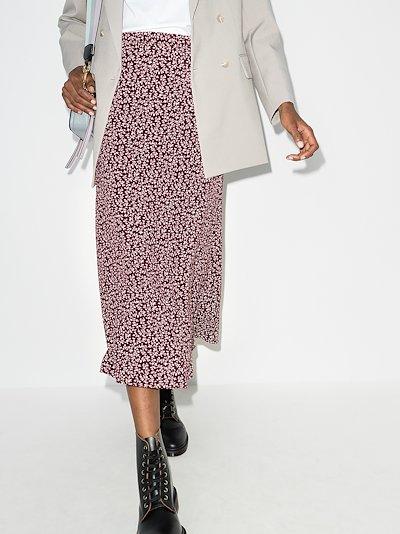 bea floral print midi skirt