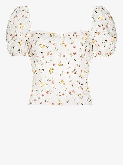 Casterly floral print linen blouse